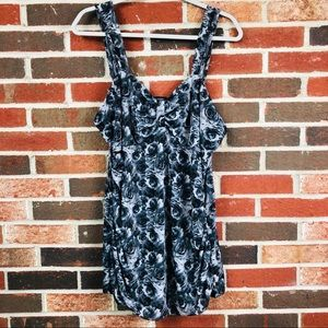 Maurice's Black and White Floral Babydoll Tank Top